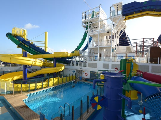 The Norwegian Escape's top deck is home to the Aqua