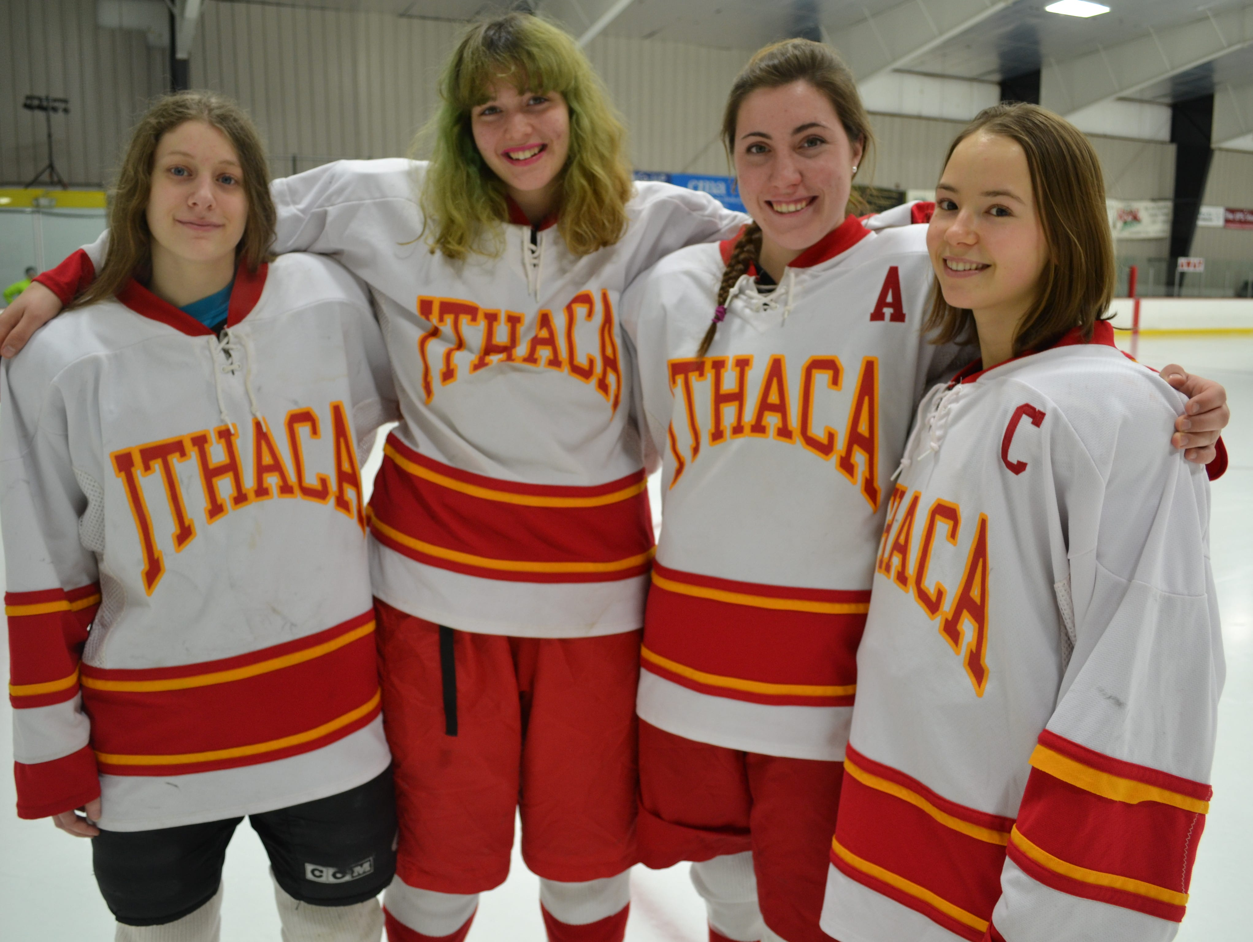 The departure of last season's Ithaca High girls hockey seniors, half the team's starting lineup from last year, will require younger players to step up. From left to right, Jacy Hollander, Marlena Doerr, Clara Karastury and former captain Zsofi Szegletes.