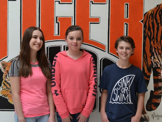 Capitan Middle School students of the month, from left;