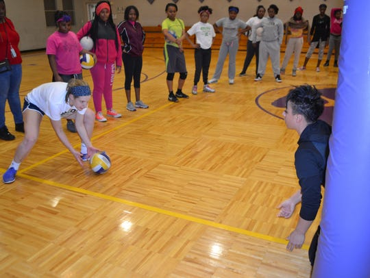Caitlyn Vann during the DIG It! volleyball program.