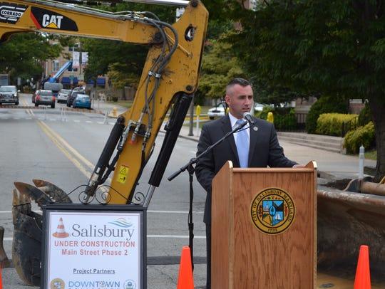 Salisbury Mayor Jake Day speaks during a ceremonial
