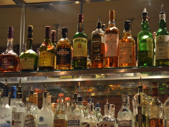 The bar at The Kitchen On Court Street serves alcohol