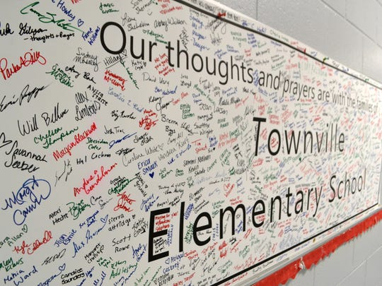 Students from different Upstate schools signed posters that now hang in the hallways at Townville Elementary to remind students and staff of the community support.
