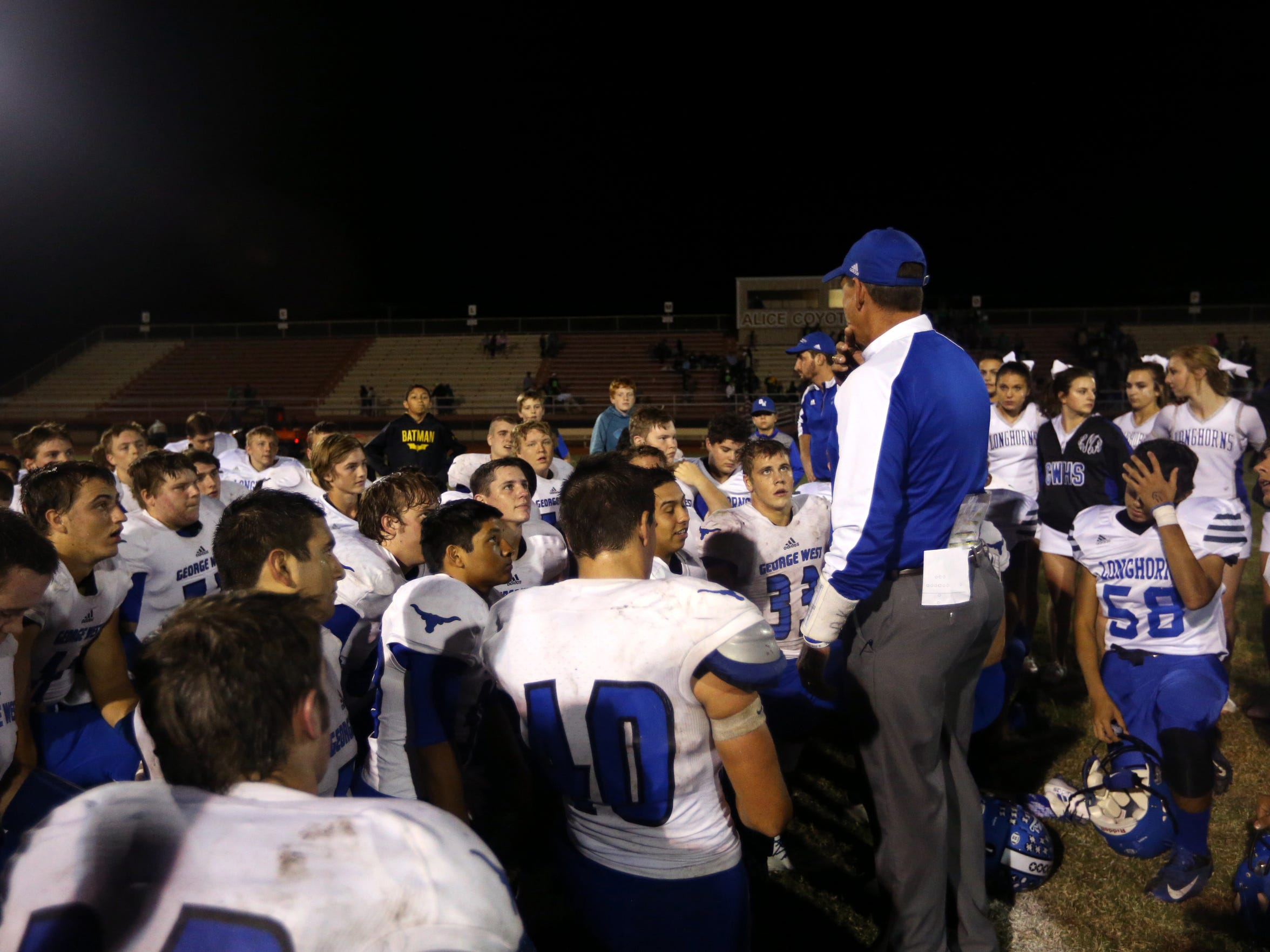 George West, seen here as coach Brent Kornegay talks to them a few years ago, had its playoff game moved from Friday to Thursday because the site they had requested was hosting the local team.