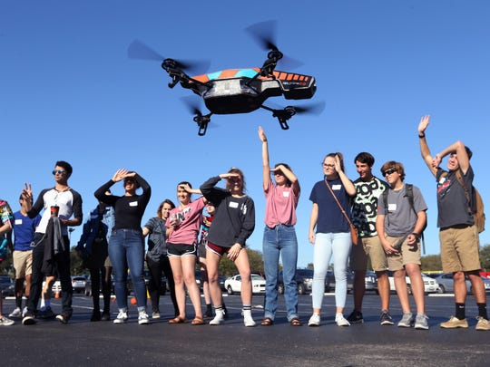 Students from Flour Bluff High School watch a drone fly on Wednesday, Nov. 16, 2016 during the Map Your Career with Geographic Information Systems event at the Del Mar College Economic Development Center. About 800 students from across the Coastal Bend attended the event.