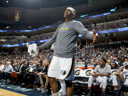 Memphis Grizzlies Vince Carter argues a call during the game against the Miami Heat.