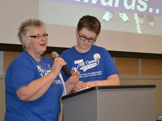 Cheri and Spencer Pruitt excite the crowd about North Mason Relay for Life, at a Relay for Life kickoff event, Jan. 11, at North Mason High School. Relay for Life will take place June 9-10 at the high school track.