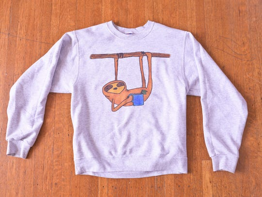 Stylemaker Shawna Hickok and her favorite sweatshirt, which features a sloth.