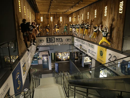 Green Bay Packers Hall of Fame is 50 years old this weekend. It started in a concourse in the Brown County Veterans Memorial Arena and now occupies a two-story space in the Lambeau Field Atrium.