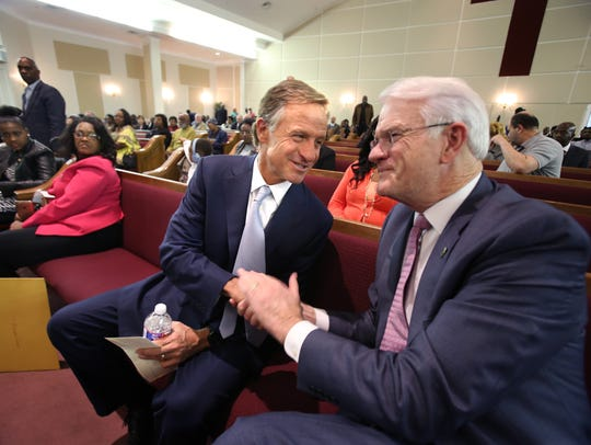 Gov. Bill Haslam greets Shelby County Mayor Mark Luttrell