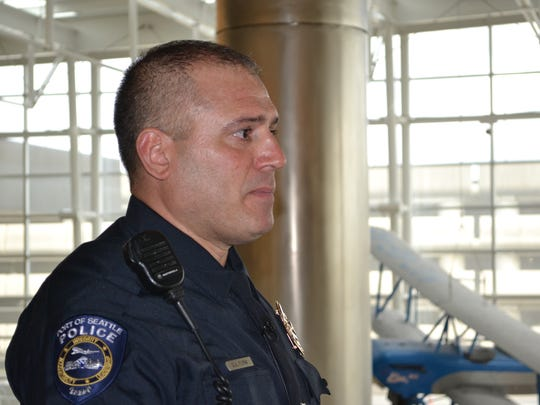 Sgt. Dan Flynn of the Port of Seattle Police Dept. received an award for helping to save the life of a man suspected of experiencing excited delirium syndrome.