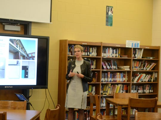 Anderson School District 4 Superintendent Joanne Avery presents her months of research findings to residents at a community meeting Tuesday night.