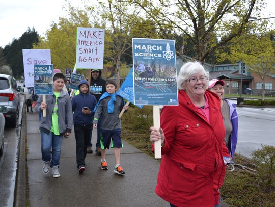Marchers of all ages walked from Evergreen Elementary