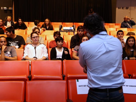 Students from Alice High School participate in the third annual Alice Civic Minded Students Talent & Film Festival at the Art Museum of South Texas on Friday, May 19, 2017. The festival included an opportunity to view a film by filmmaker John Valadez (center) and then ask him questions.