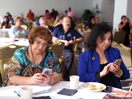 Mary Yañez (left), El Paso District 4 director of the