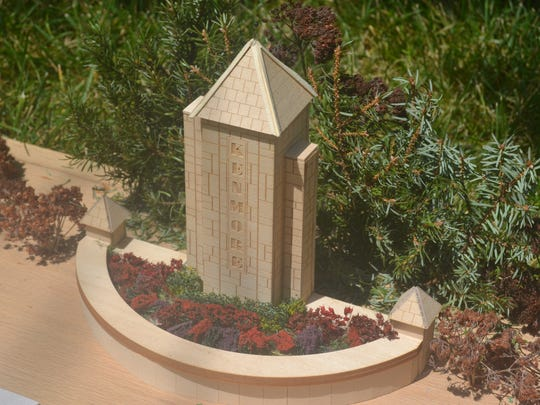 Photo of scale model of Kenmore Neighborhood entry pylon/planter.