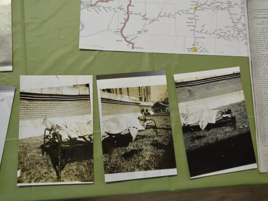 Black and white photos show the body of Texas Red when