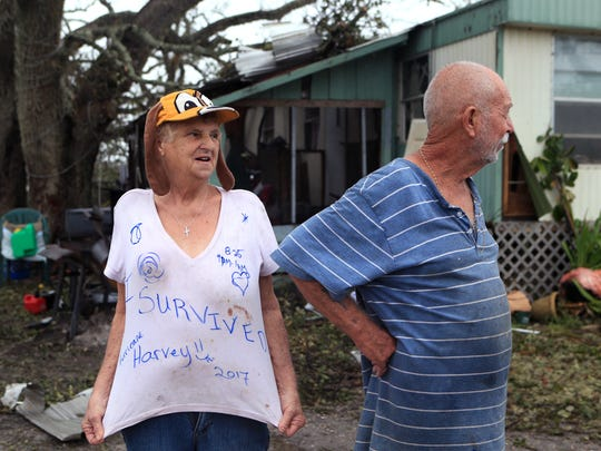 Linda and William Hart rode out Hurricane Harvey in their trailer near Bronte Street. On Monday, August 28, 2017, the Fulton, TX residents described living through the hurricane and said they held hands just praying they would survive it.