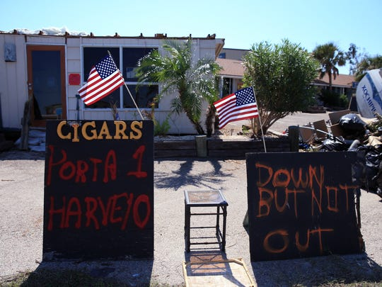 A sign outside a condemned cigar shop in Port Aransas,