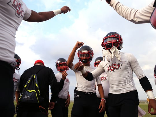 West Oso Bears get revved up prior to their game against