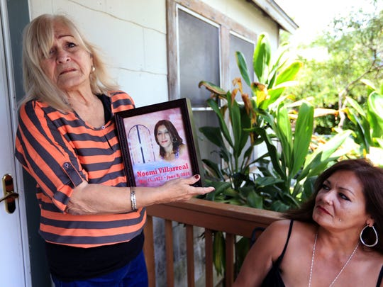 Rachel Denny Clow/Caller-TimesLydia Mu–oz (left) holds an urn containing the ashes of her daughter, Noemi Villareal, while Noemi's sister, Nydia Villarreal talks about her life on Thursday, June 23, 2016. Noemi Villarreal was murdered on June 8, six days after filing a police report against the man charged with her murder.