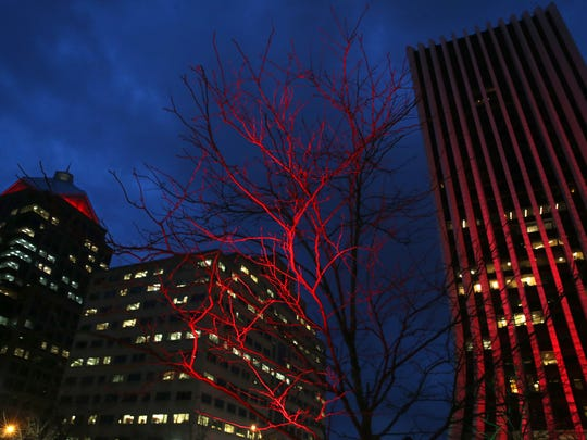 Trees around Parcel 5 are lit up in festive holiday colors.