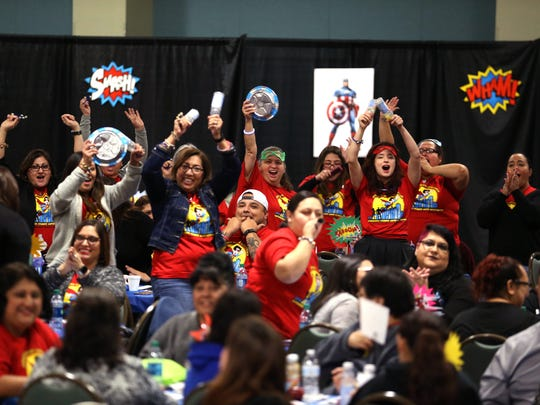 Educators and parents from across the area make some noise during the Parent Engagement conference held by the Education Service Center, Region 2 at the Richard M. Borchard Regional Fairgrounds in Robstown on Tuesday, February 6, 20187.