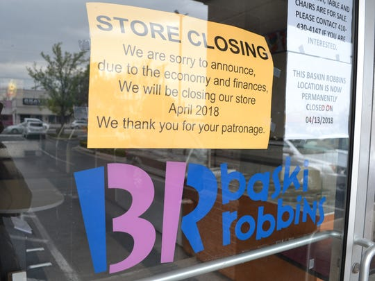 The Baskin Robbins ice cream shop at the Clairmont Shopping Center in Salisbury has closed.