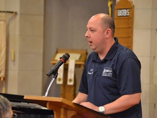 Mayor Danny Sanchez reads a proclamation at Fremont's