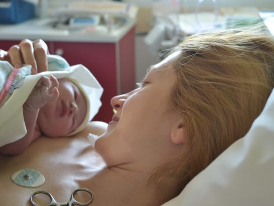 The first moments of mother and newborn after childbirth.