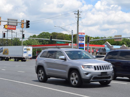 Traffic travels down a busy section of Route 13 in Salisbury.