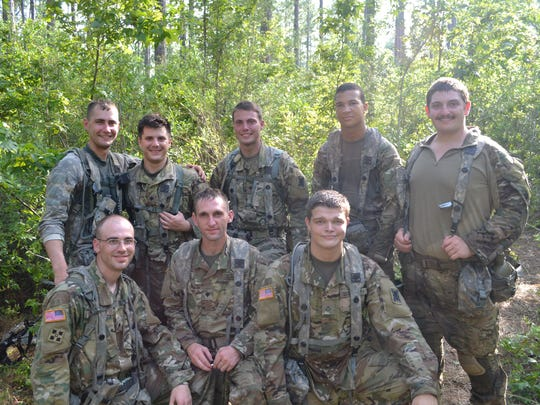 Members of 3rd Battalion Bravo Company from Camp Beauregard shown during the XCTC training exercise at Camp Shelby, Mississippi. Picture are (front row, from left) Spc. Guidry, Spc. Riecel, PFC. Fessenden, (back row from left) Sgt. Nugent, Spc. Lambert, Spc. Michael Smilie, Spc. Brummett, and PFC Richey.