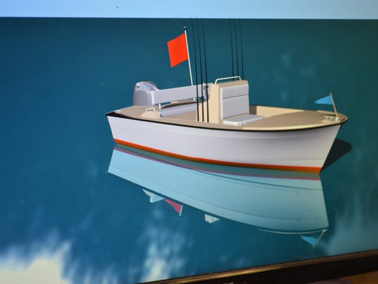 This computer model of the Weatherly 15 center console shows plans for the newest boat at Weatherly Boat Works. Weatherly owner Wes Blazer is currently constructing molds for the boat and hopes to have the first one completed by spring