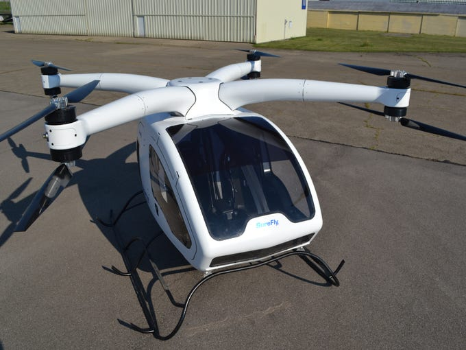 The SureFly is a two-place hybrid-electric helicopter