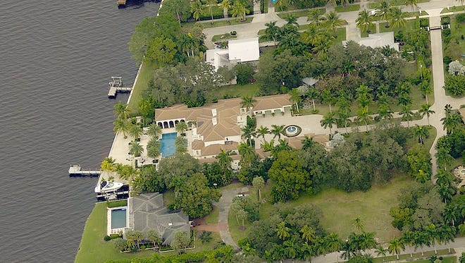 An aerial view shows the home at 1240 Coconut Drive on the Caloosahatchee River in Old Fort Myers, which recently listed for sale at the unprecedented price of $25.565 million.