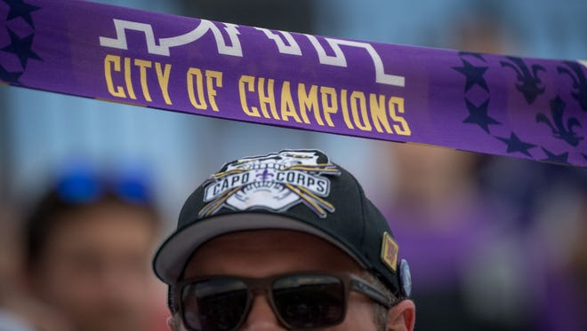 Joh Harper hold a scarf during the U.S. Open Cup Round of 16 game between Louisville City FC and Nashville SC at Lynn Stadium in Louisville, Ky, June 20, 2018.