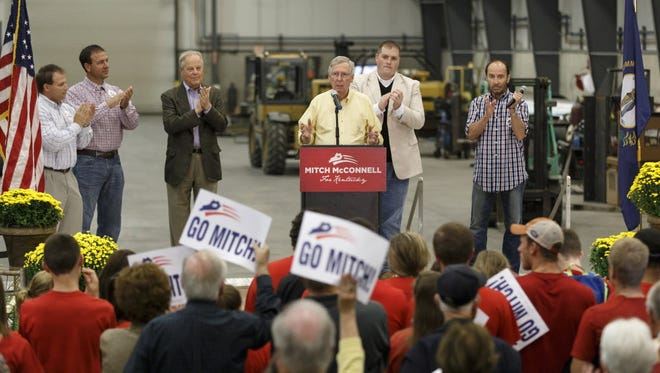 Senate Republican leader Mitch McConnell of Kentucky campaigns Tuesday in Russellville.