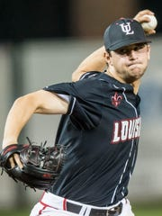 UL's Gunner Leger, shown here throwing against Saint Peter's earlier this year, was drafted by the Miami Marlins on Wednesday but intends to return for his senior season.