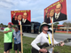 Supporters and protesters outside the Donald Trump