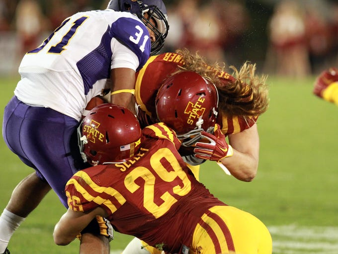 Northern Iowa Panthers Michael Malloy (31) is tackled
