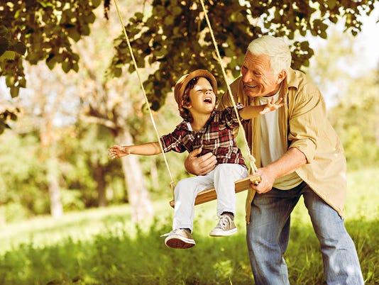 Playful grandfather