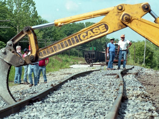 The CSX tracks on the south side of Lafayette are moved to join a new set of tracks. Photo taken July 22, 1994.