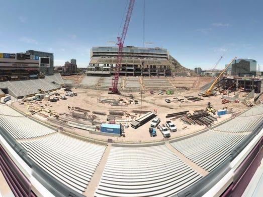 A view of the construction at Sun Devil Stadium on