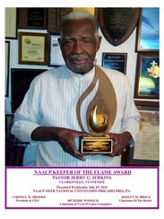 Pastor Jerry G. Jerkins of Clarksville received the