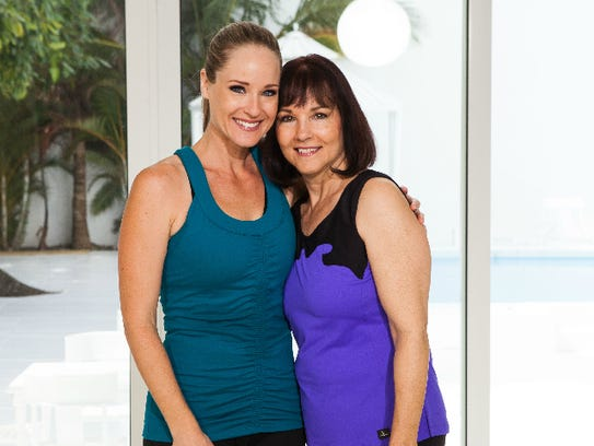Miami fitness instructor Jessica Smith, 35, left, makes