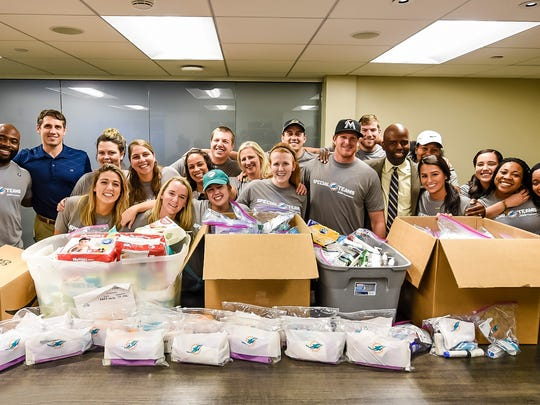 The Miami Dolphins helped put together care packages
