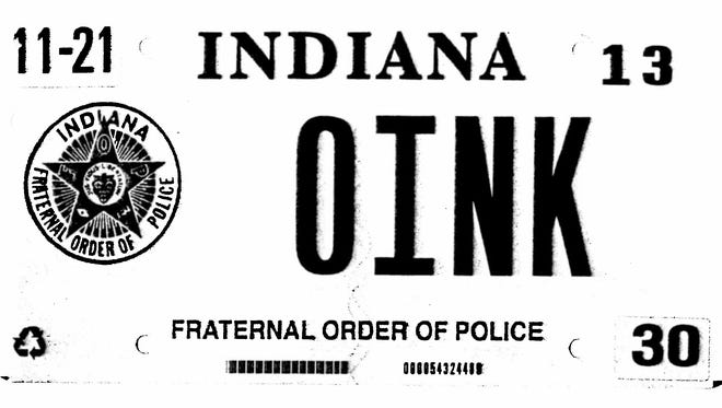 This photocopy of a license plate which is the basis of a lawsuit against Indiana's Bureau of Motor Vehicles filed by Greenfield police corporal Rodney G. Vawter.