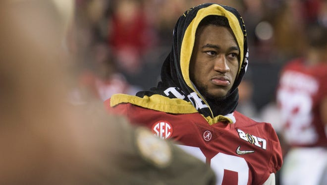 Alabama linebacker Shaun Dion Hamilton (20) after loss to Clemson in the College Football Playoff National Championship Game at Raymond James Stadium in Tampa, Fla. on Monday January 9, 2017.