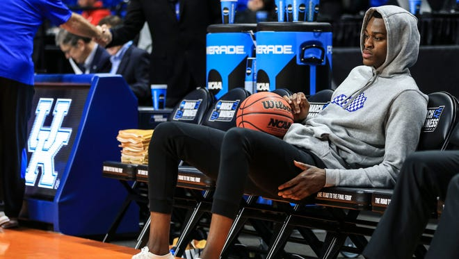 Kentucky's Jarred Vanderbilt looks a bit glum while watching his team practice Wednesday, March 14, 2018, before the Wildcats' opening game against Davidson in the Taco Bell Arena in Boise, Idaho.