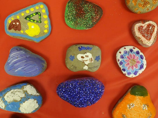 Dozens of rocks were painted as part of Dayton Valley